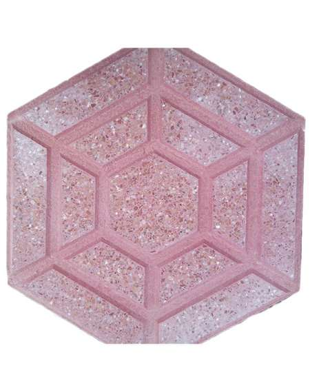 Terrazo Rojo Hexagonal pulido
